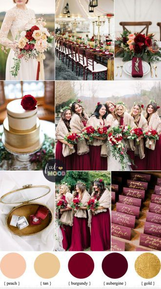 Aubergine and burgundy for Rustic Elegant Winter Wedding Inspiration ...