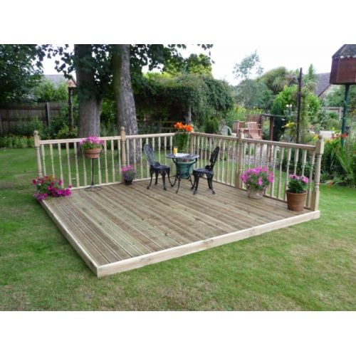 Wonderful 4.8m X 4.8m Easy Deck Patio Kit (with Handrails)