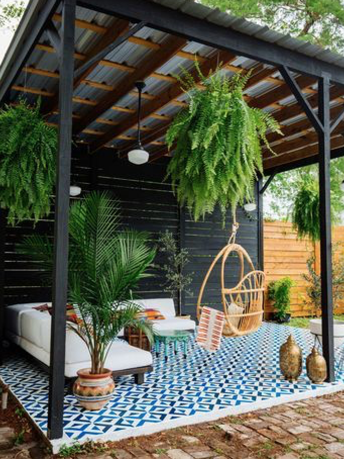 Like The Slope Of The Metal Roof And Exposed Beams Sweet Swing Would Put Concrete Top Dining Table There For Outdoor Dining Diy Patio Backyard Backyard Patio