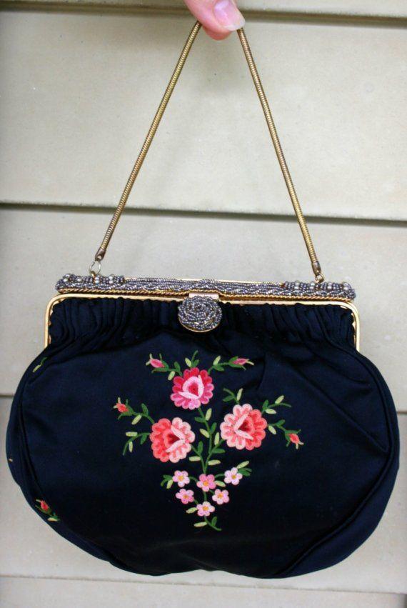 42de27b400 vintage 50s Sweetest Little Black Rose Applique Handbag by Denise ...