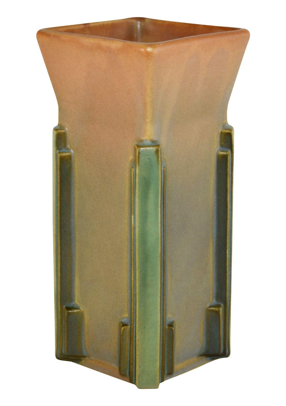 Roseville Pottery Futura Milk Carton Vase 402 8 Pottery Art Roseville Pottery Pottery