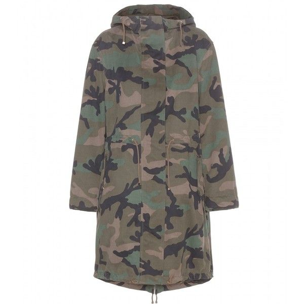 13b818741d480 Valentino Camouflage-Printed Cotton Parka ($3,890) ❤ liked on Polyvore  featuring outerwear, coats, jackets, green, green coat, green parka coat,  camo coat, ...