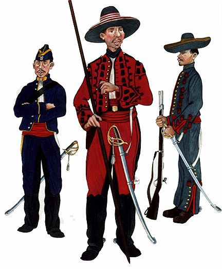 The Mexican Adventure: Uniforms: Mexican Imperial Troops 1. Cazadore, 8th Cavalry Corps (1866). 2. Trooper, Empress' Lancers (1867). 3. Horsenman, Rurale Guards of Queretaro (1867)