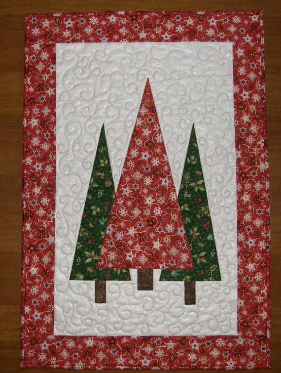 Christmas Trees Quilted Wall Hanging Red Green Quilt Quilted Table