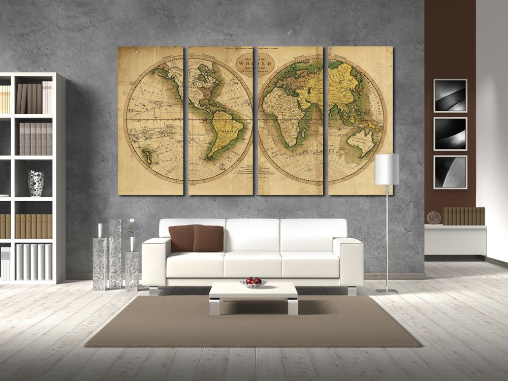 Old World Map Wall Art Vintage World Map Canvas Print Wall Art World ...