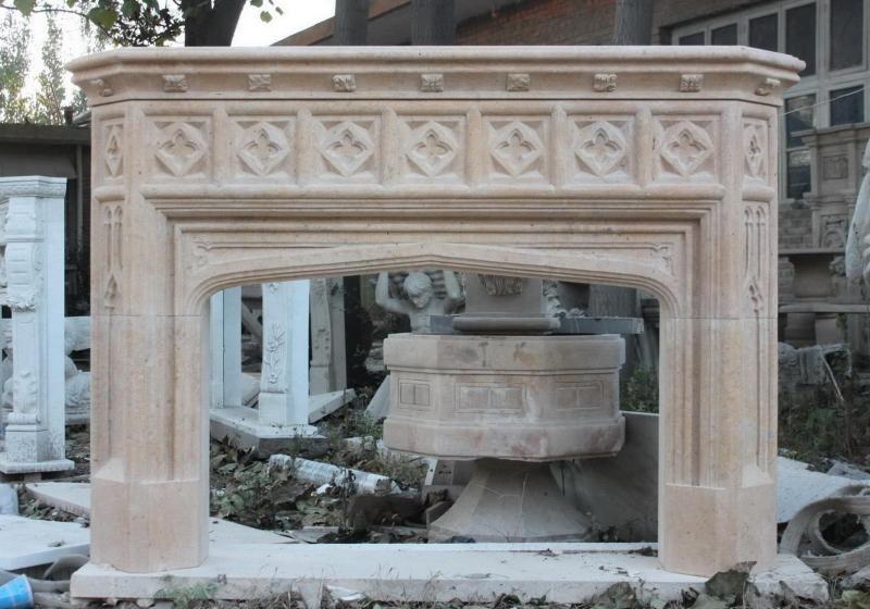 The Gatz French Gothic Design Marble Fireplace Mantel
