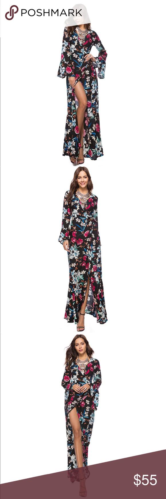 Long sleeve floral wrap maxi dress boutique my posh picks