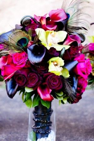 #Rock n' Roll Wedding #afloral shop wedding flowers and wedding decorations make this bouquet: http://www.afloral.com/Silk-Flowers-Artificial-Flowers-Fake-Flowers?search=PinA342014 photo credit: http://www.weddingandpartynetwork.com/gallery/photo/7631/