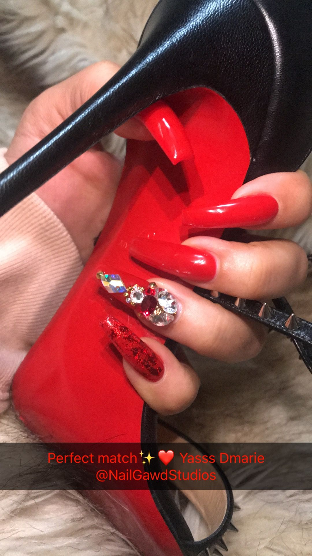 Red bottom vibes nails by Dmarie @nailgawdstudios | Nails | Pinterest