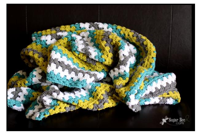 Granny Stripe Crochet Afghan Throw Blanket | Ganchillos afganos ...