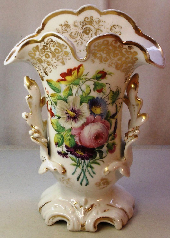 Old paris porcelain vase hand painted flowers and gold two handled old paris porcelain vase hand painted flowers and gold two handled early mid 1800s decorative floridaeventfo Images