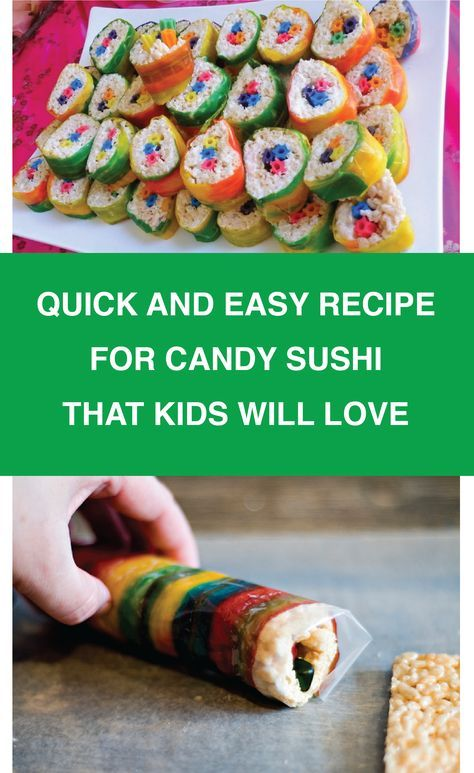 Looking for an easy and fun dessert to make with your kids? Try making candy sushi rolls. These desserts are super cute and super easy. #candysushi