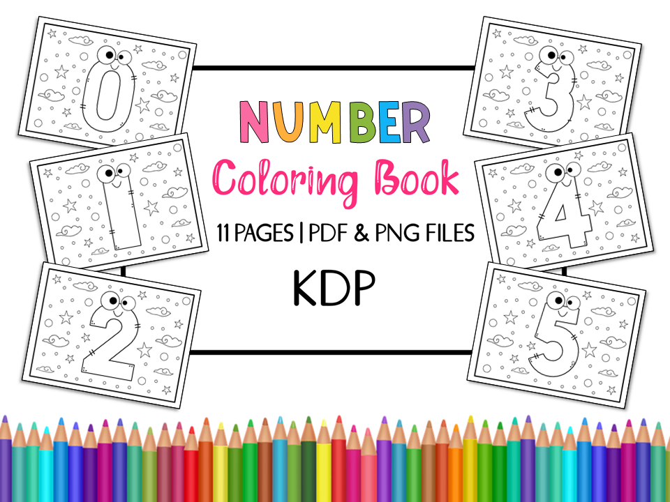 Kdp Number Coloring Book For Kids Graphic By Miss Cherry Designs Creative Fabrica In 2020 Coloring Books Books Color