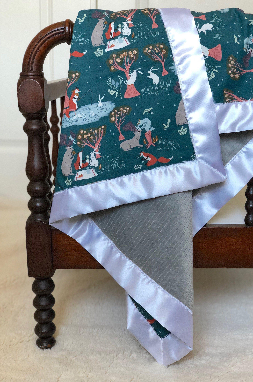 473fe915cf Woodland Animal Minky Baby Blanket Satin Trim