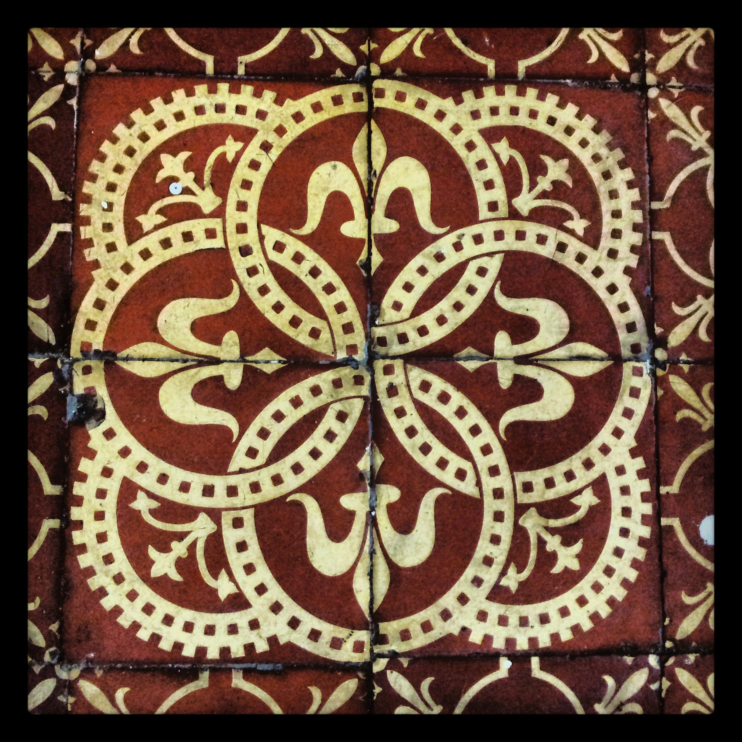 Floor tiles from the medieval church of St Margarets, St Benedicts ...