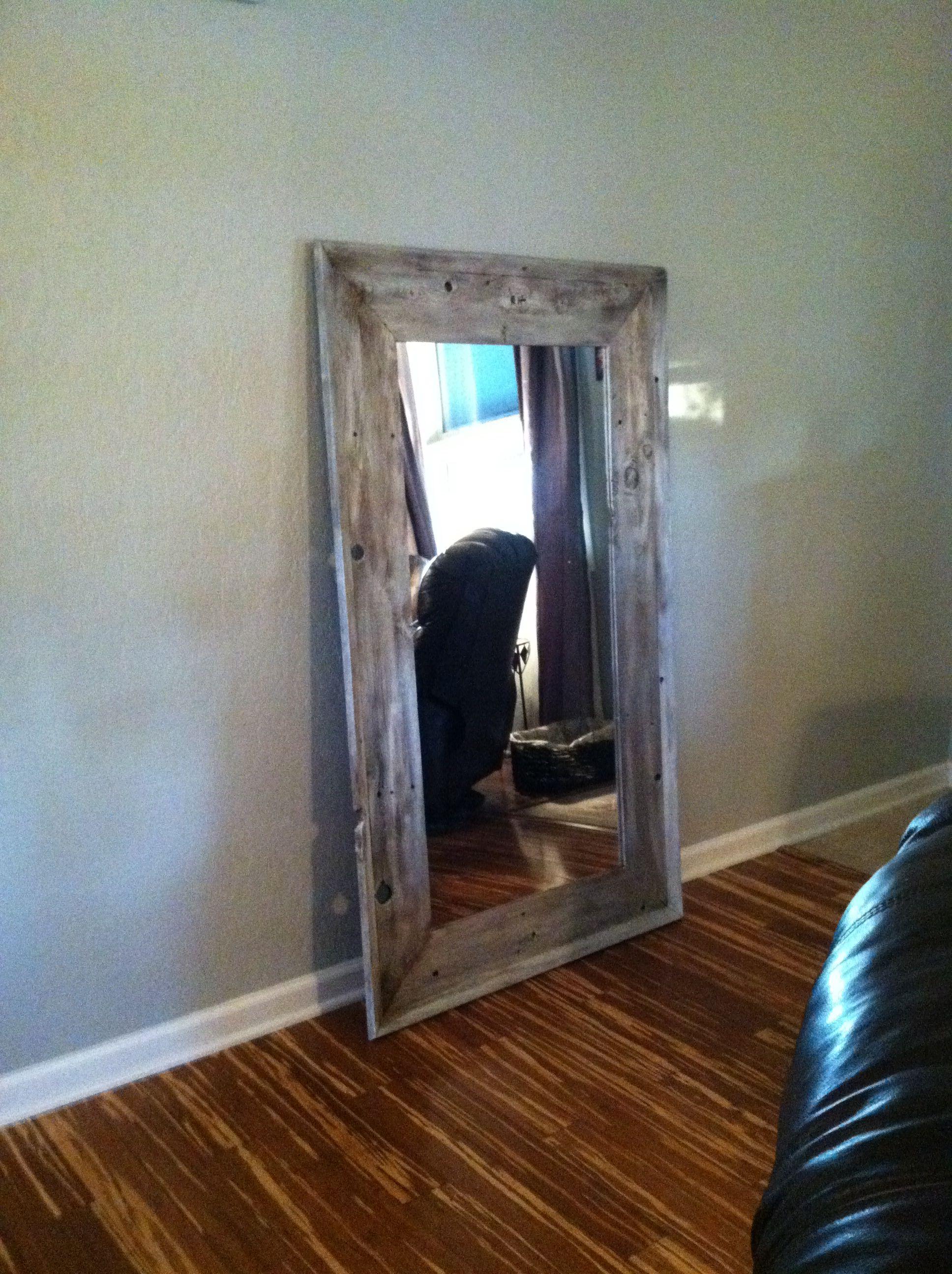 Custom Made Floor Mirror Frame Using Old Fence Posts Floor