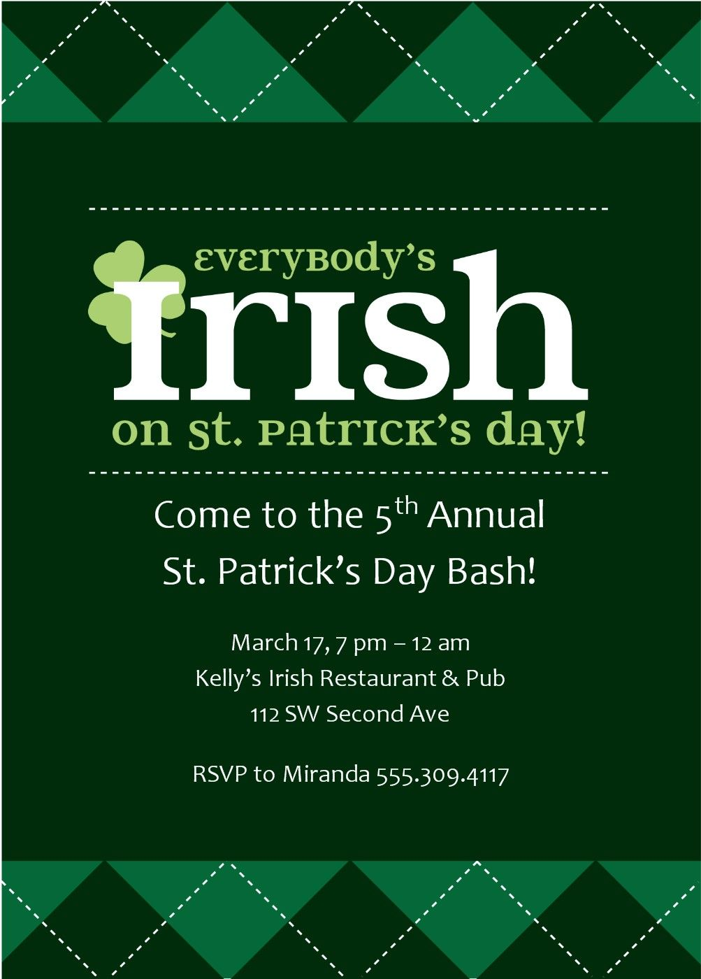 this traditional 5x7 st patricks day party invitation features green argyle against a darker green background and the title reads everybodys irish