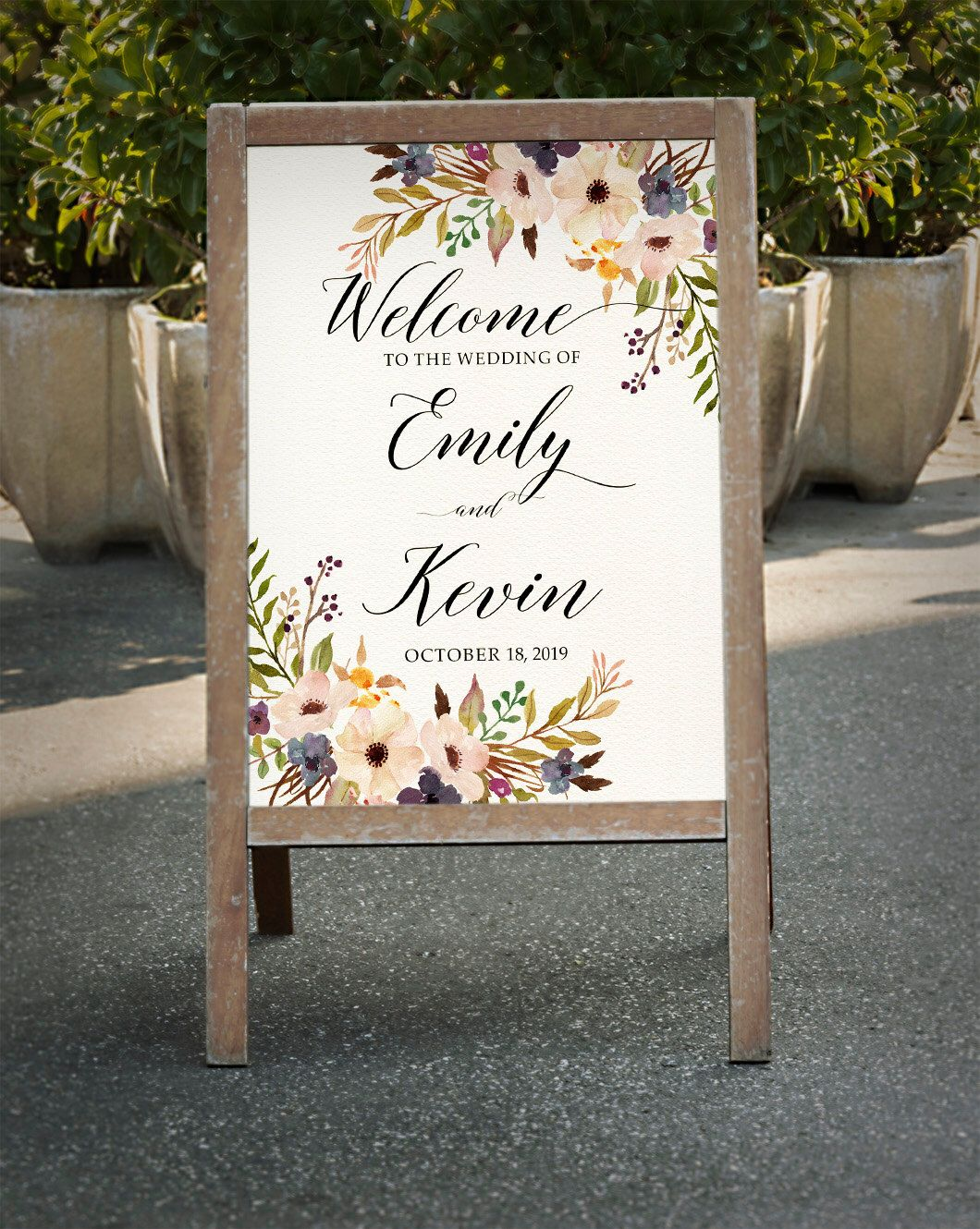 Printable Wedding Sign Pink Purple and Blue Welcome Wedding Sign