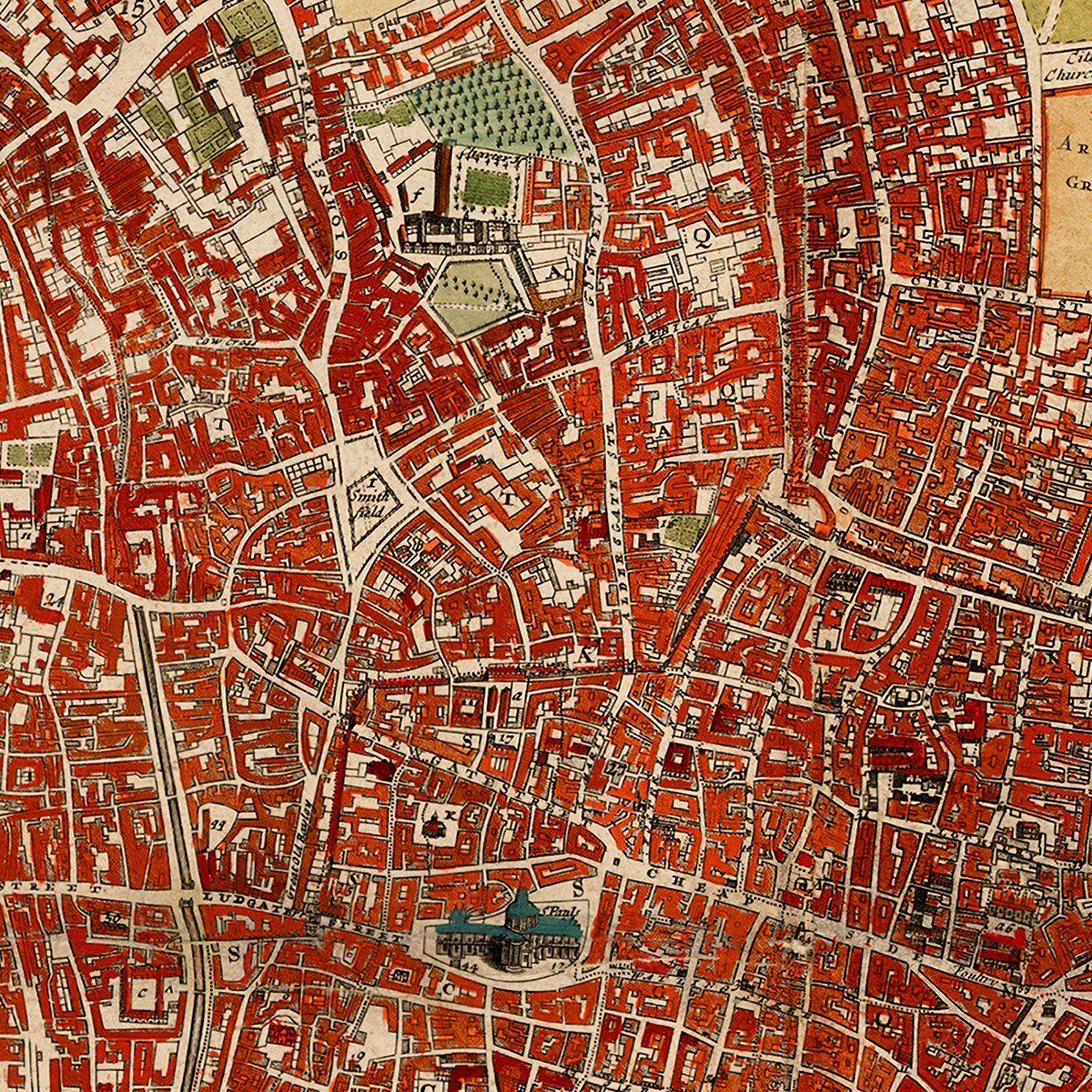 London ca 1700 Westminster Southwark Survey City Plan close Up