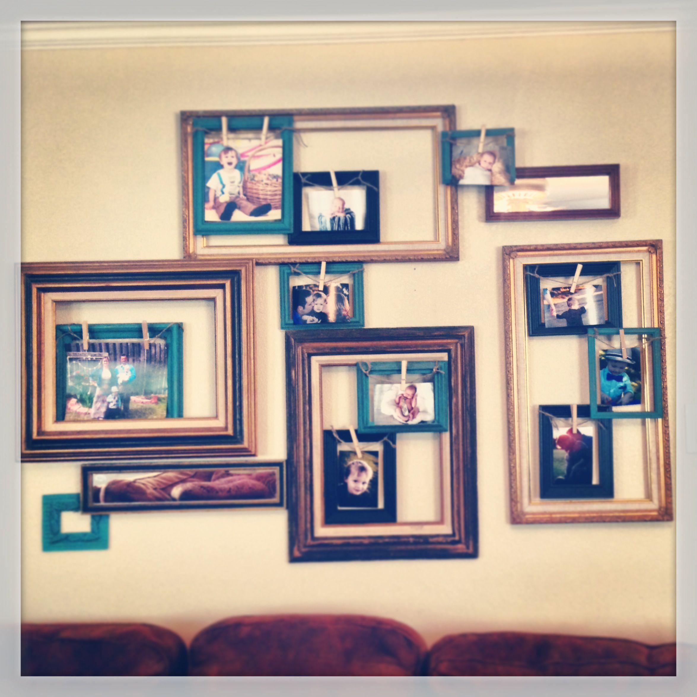 Vintage Frame Collage Sisal Rope Clothespins