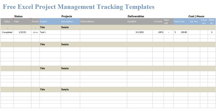 Get Free Excel Project Management Tracking Templates For Your