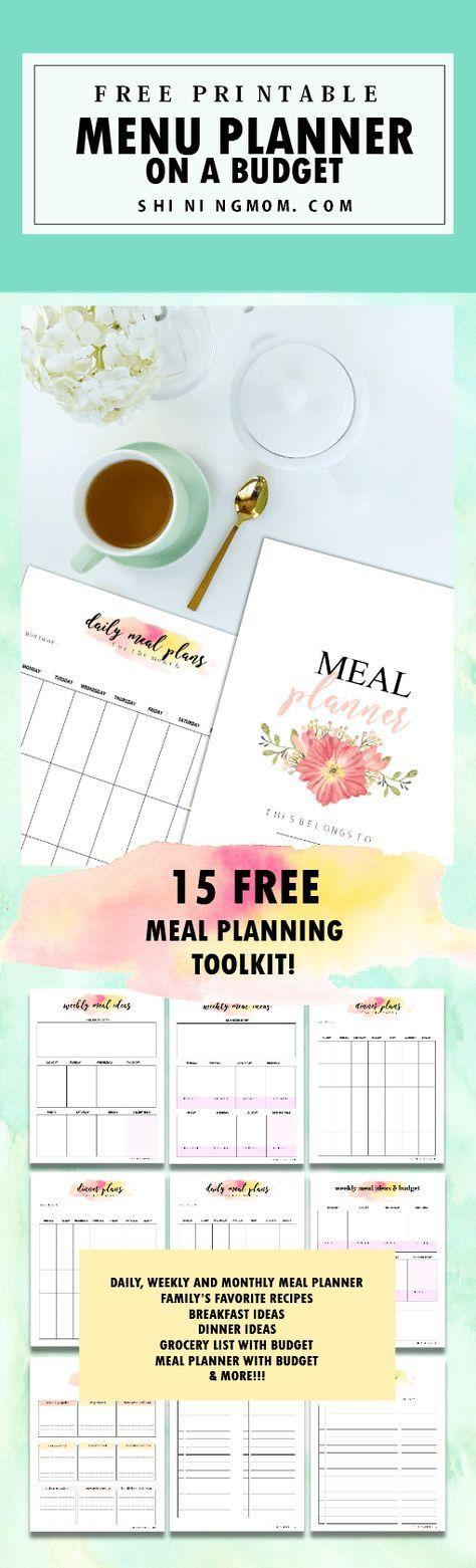 free meal planner printable 15 pretty menu budgeting tookit menu