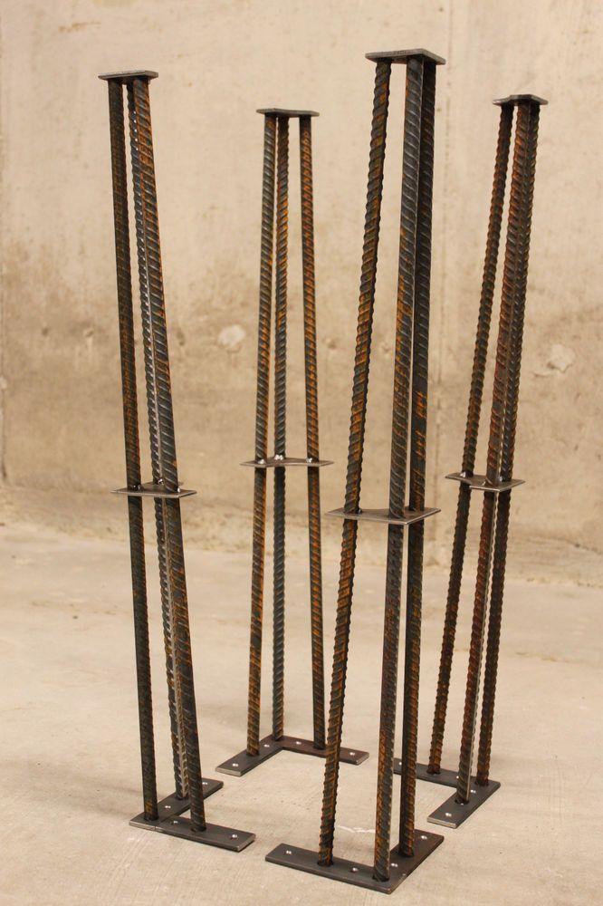 28 Quot Metal Table Leg Set Of 4 Legs Rebar Clear Coat