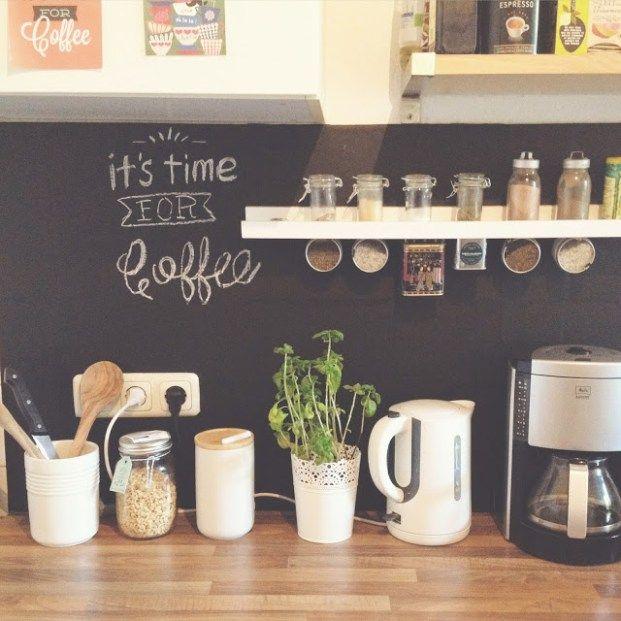 diy wohnen tafelwand f r die k che mit tafelfolie ideen pinterest. Black Bedroom Furniture Sets. Home Design Ideas