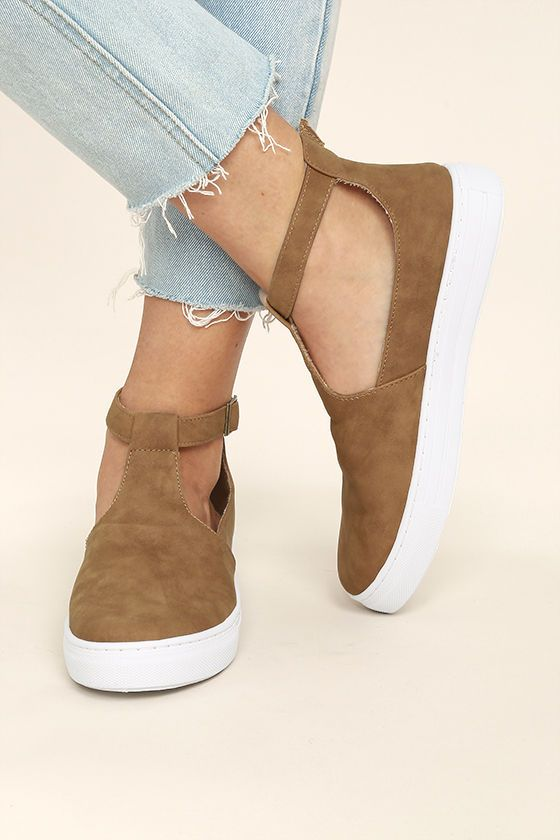 a41ef1db192 Amp up your street chic style with the Anna Camel Nubuck T-Strap Sneakers!  These dreamy vegan nubuck leather sneakers have a T-strap upper