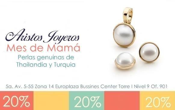 No te pierdas en el mes de Mamá la mejor colección de perlas de Tahilandia y Turquia, tendremos las más elegantes y preciosas joyas con el 20% de descuento, para que puedas consentirla con un detalle único de Aristos Joyeros... Del 2 de mayo al 30 ¡Te esperamos!