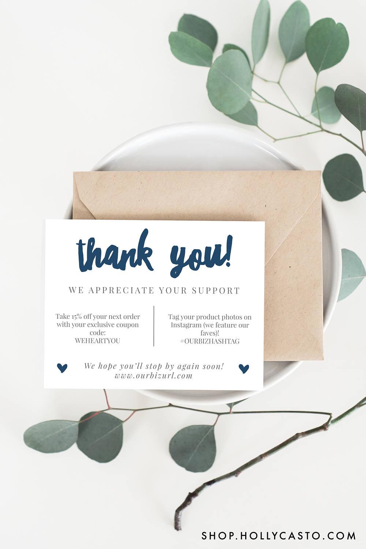 Printable Thank You Cards Adelie Navy Holly Casto Kemasan Seni 2d Seni