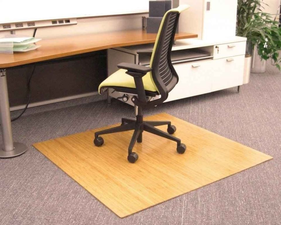 Rectangular Wooden Pattern Corner Desk Chair Floor Mat