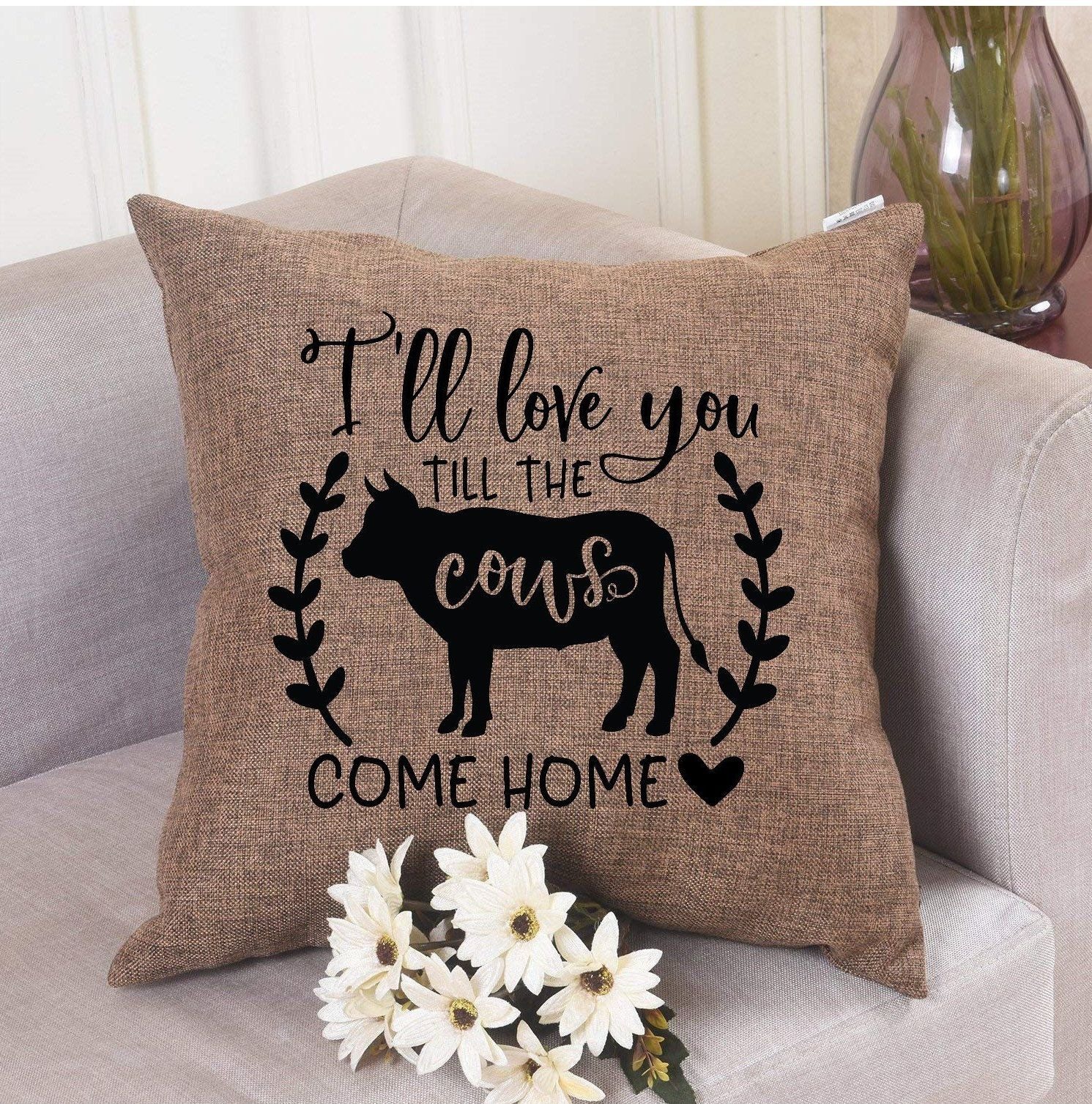 I Ll Love You Til The Cows Come Home Pillow Cover Custom Pillow Cover Pillow Cover Gifts Valentines Day Cow Pillow Farm Pillow Cover Custom Pillow Covers Pillows Custom Pillows