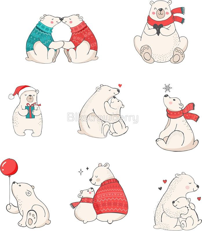 'Polar Bear Winter Christmas Holiday Illustrations' Sticker by Blkstrawberry