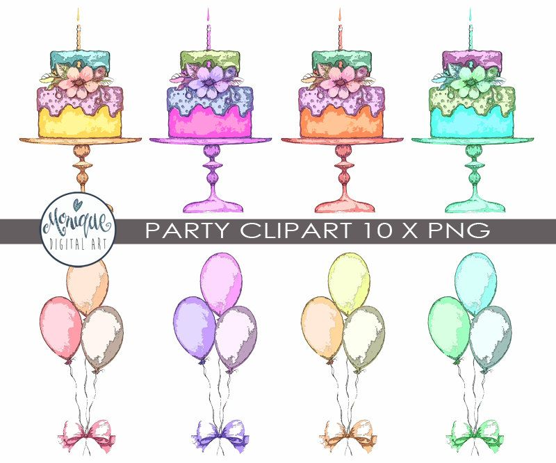 Party clipart, birthday, invitation, balloons, cake, planner ...
