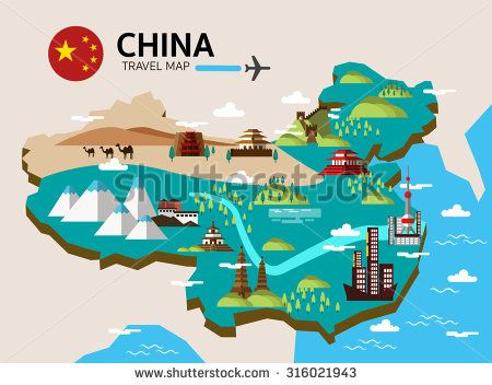 China landmark and travel map. Flat design elements and icons ... on