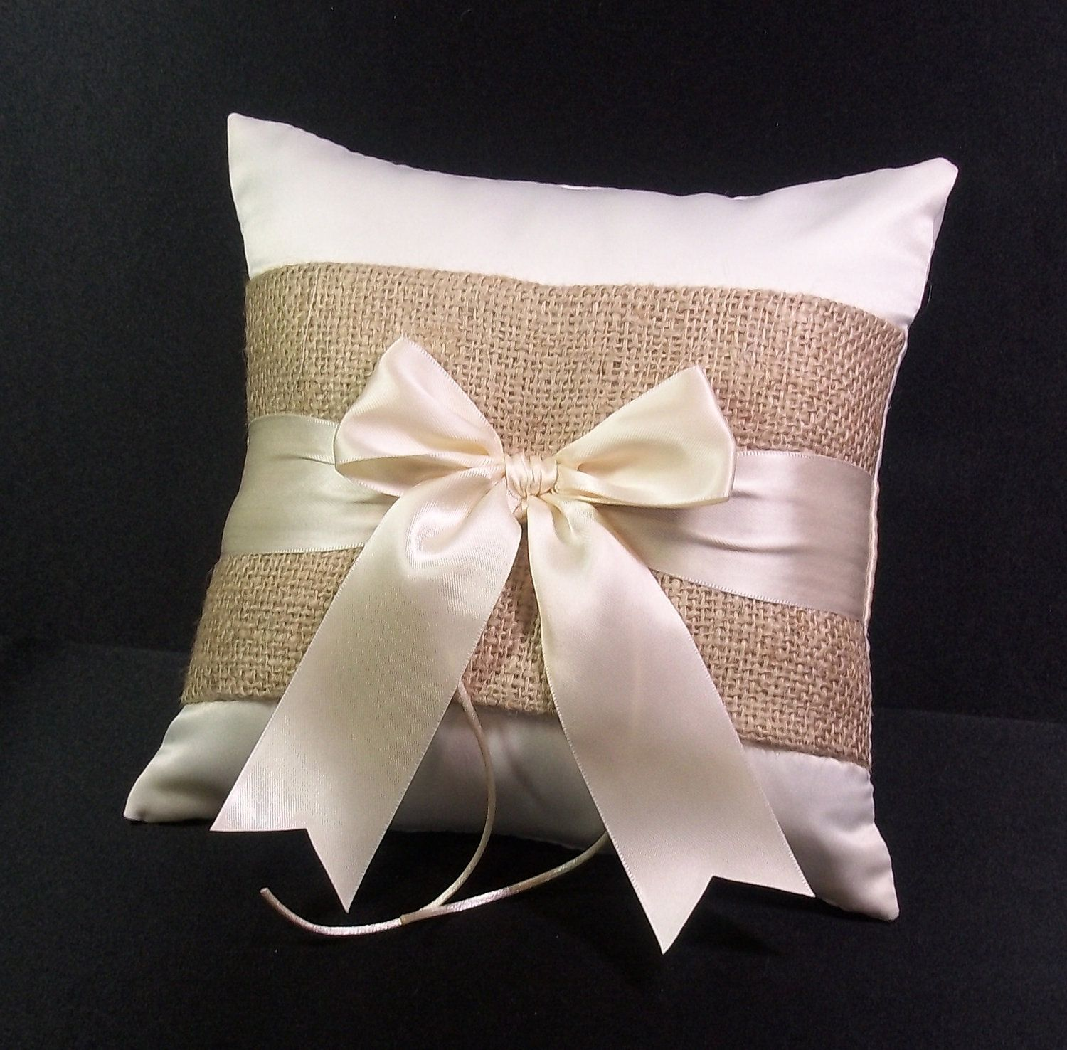 Burlap Accent Ivory or White Rustic Wedding Ring Bearer Pillow ...