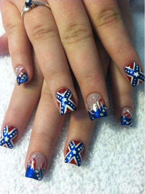 Rebel flag nails random styles i like pinterest rebel flag rebel flag nails prinsesfo Gallery