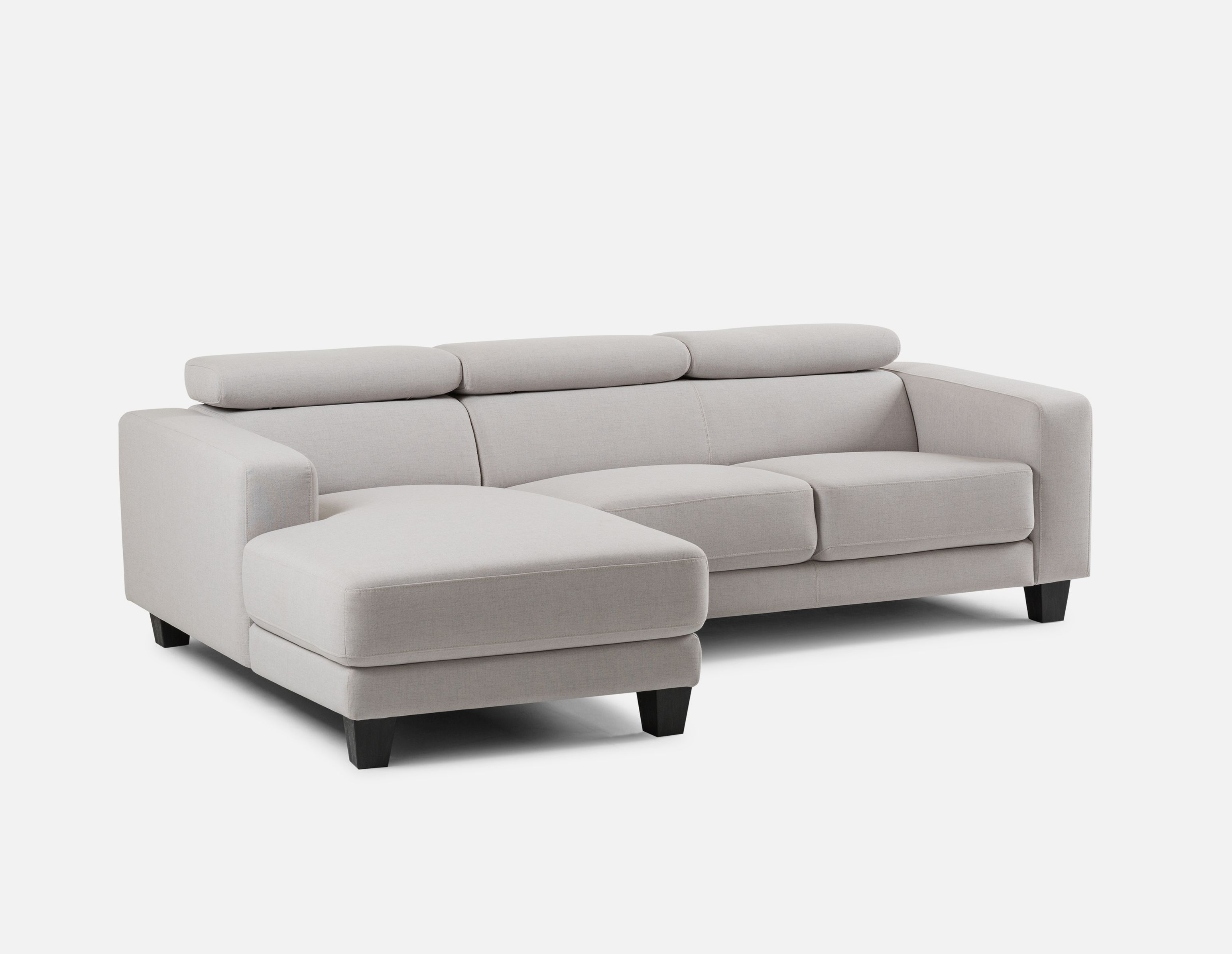Silver Left Facing Sectional Sofa With Adjustable