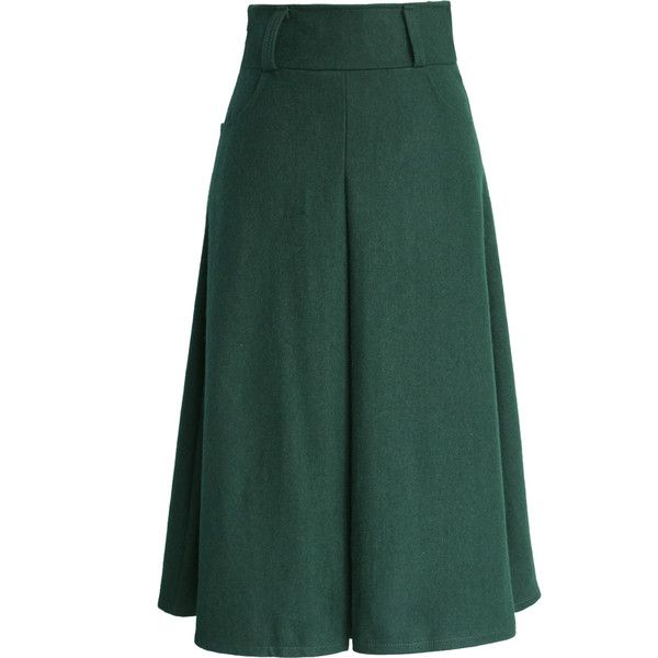 Chicwish Wool Blend Full Skirt in Green ($47) ❤ liked on Polyvore featuring skirts, green, long skirts, high waisted knee length skirt, high waisted full skirt, high rise skirts, high waisted pleated skirt and green skirt