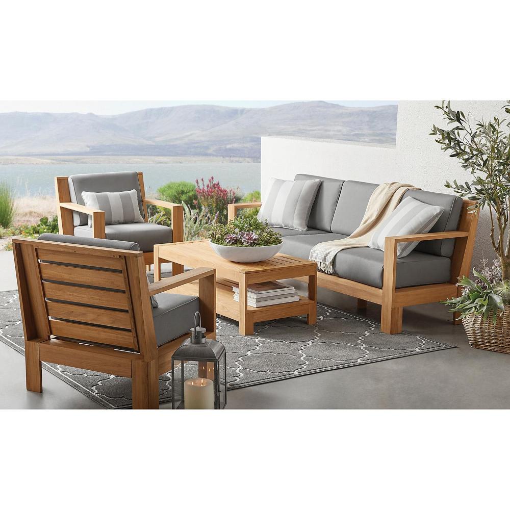 4 piece teak deep seating patio set