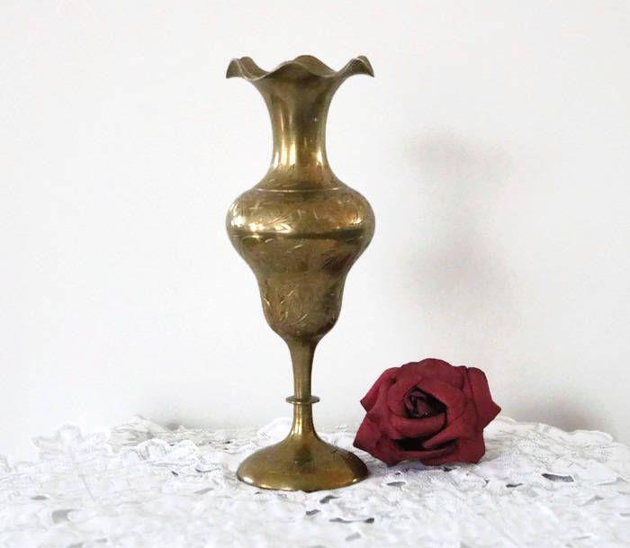 Vintage Signed India Ornate Etched Brass Flower Vase Vintage Home