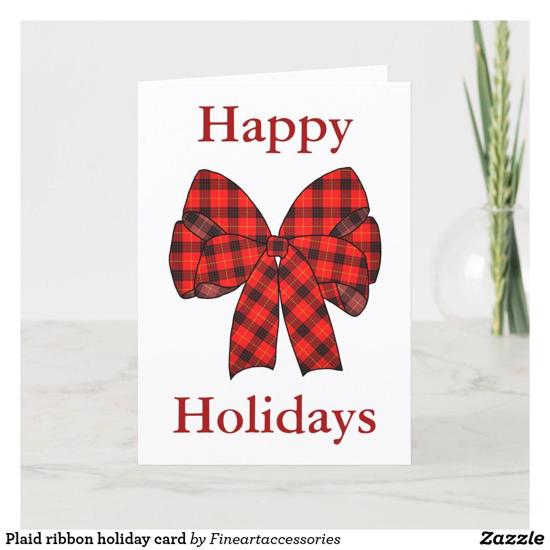 Plaid ribbon holiday card 30% off with code MONDAYTREATS #invitations #holiday #party #christmas #Greetingcards #cards #bow #plaid #tartan #ribbon