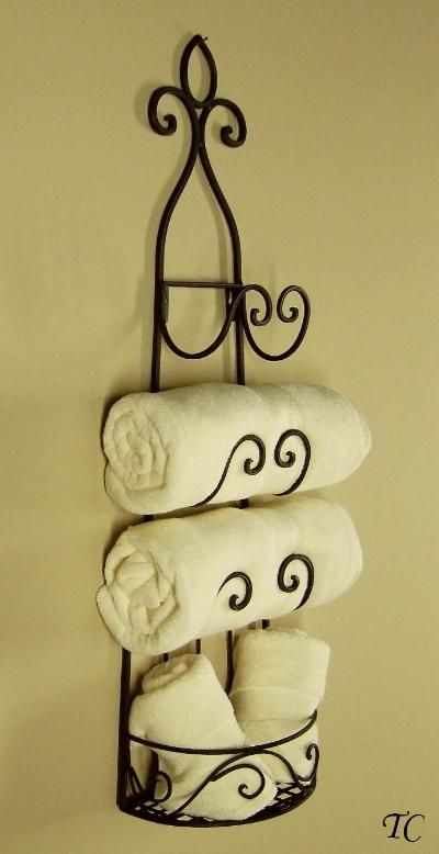 Metal Wall Towel Rack Wrought Iron Wine Tuscan Holder