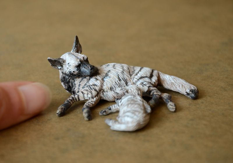 Striped Hyena with pup in 1:22 scale - made by Harriet Knibbs Sculptures Ltd