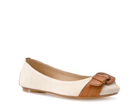 Kelly & Katie Caspian Flat $39.95. For a cute boost to your preppy look, try the Caspian flat from Kelly & Katie. This fun little flat looks great with capris and skirts.  Linen fabric upper with synthetic trim  Round toe with decorative buckle  Synthetic sole  Imported