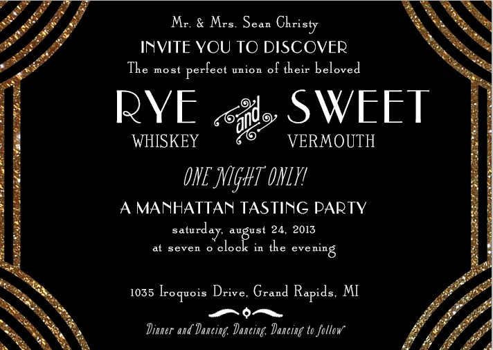 Rye Whiskey and Sweet Vermouth a Manhattan tasting party – Cocktail Party Invitations Templates Free