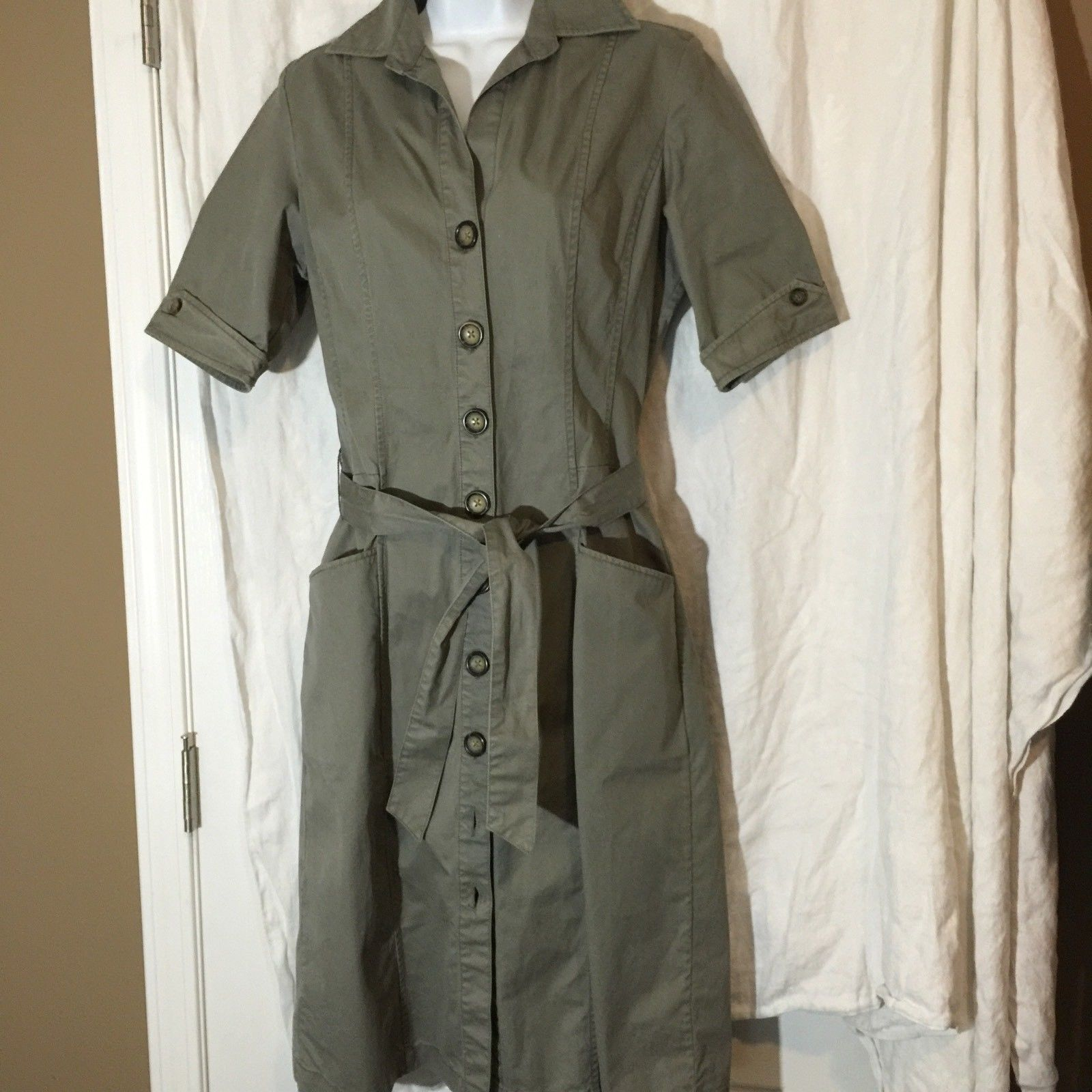 Banana Republic Womens Dress 6 Military Fatigue Style Deep Pockets Belted Olive   eBay