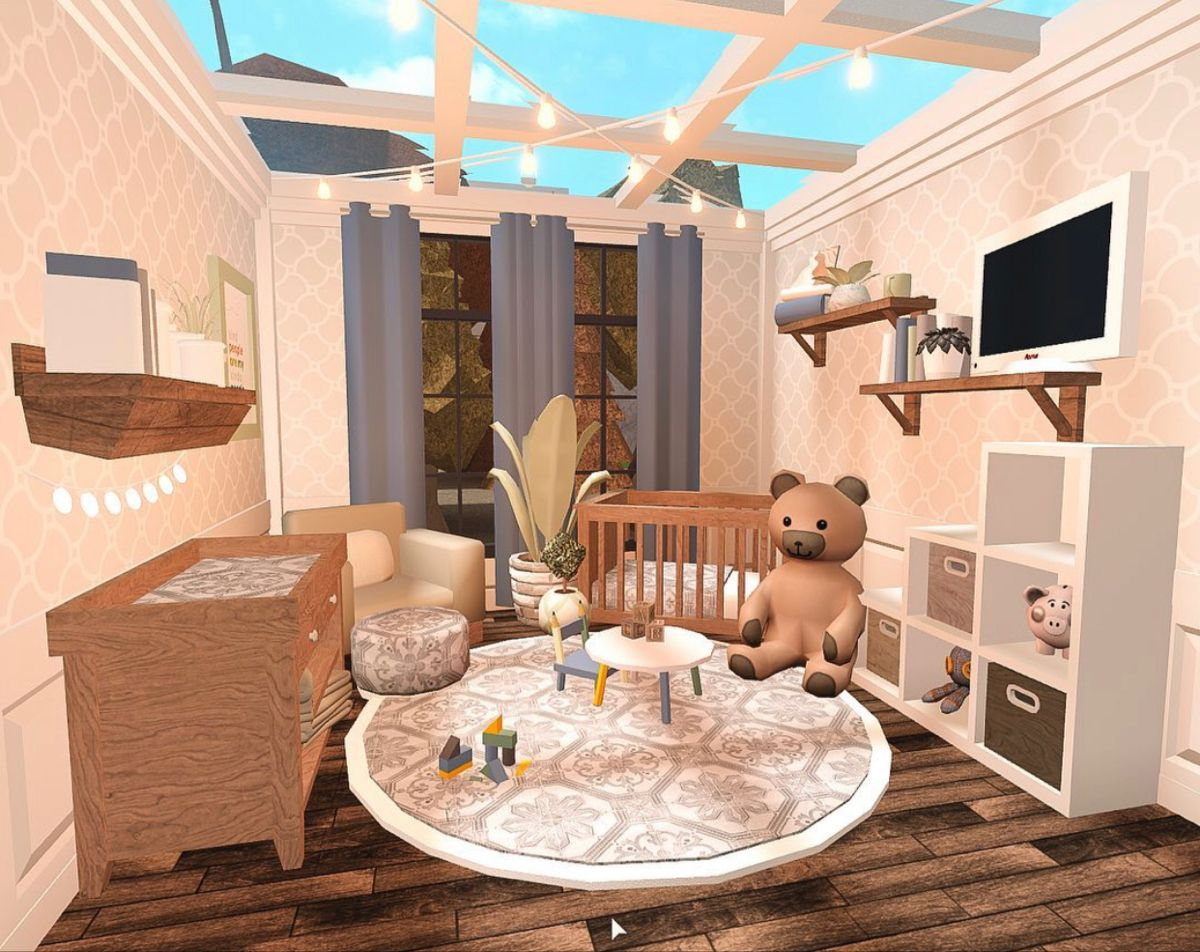 Bloxburg Baby Room (not Mine) In 2020 | Tiny House Layout, Unique House Design, Home Building Design