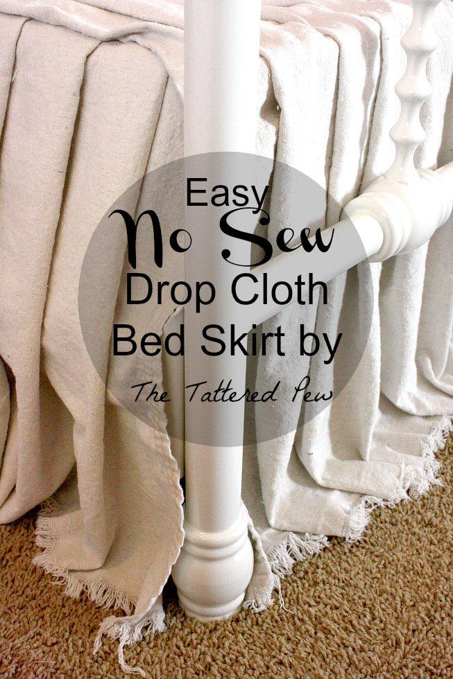 Easy No Sew Drop Cloth Bed Skirt Bedroom Makeover Before After Dorm Bed Skirts Diy Bedroom